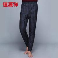 Heng YUAN XIANG male winter 2013 quinquagenarian down pants liner stripe kneepad solid color warm pants