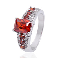 Men Jewelry 10KT White Gold Filled Red Garnet Crystal Stone Ring Size 9-11 Christmas Gift