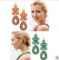 Free Shipping Europe Brand Capri Chandelier Nina Dobrev Bohemian Flower JC Rhineston Drop Earring Wholesale