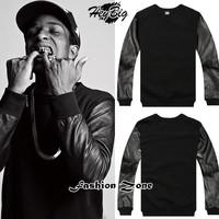 KTZ fashion men brand moleton cheap sweatshirts leather sleeve hip hop high quality man hoody with ZIPPER  two sides sportswear