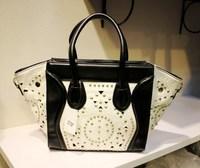 hot sale free shipping 2013 fashion designer rivet hollow out women's handbag fashion cutout smiley bag,smiley handbag wholesale