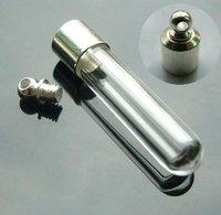 akl66//free shipping!!!  100pcs/lot Glass straight tube Vial Pendants with Pre-glued Caps/wish pendant