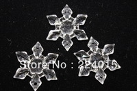 Free Shipping 50pcs/25*25mm Random Clear White Snowflake Acrylic Transparent beads for Necklace Jewelry Making