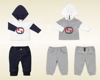 Retail Christmas Baby  Boys Clothing Set  Sport Casual 2PCS Long Sleeve hooded+ Children Pants Baby Winter Clothes Sets