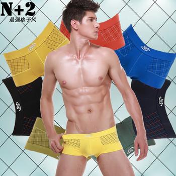 1 male boxer panties 100% butt-lifting plaid cotton low-waist male