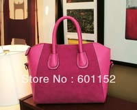 new 2013 fashion women leather handbag patchwork nubuck leather women bags smiley bag one shoulder crossbody handbag