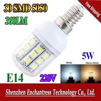 FreeShipping E14  5W 220V 5050 SMD 30 LED Light Bulb White / Warm White  Corn Light spotlight LED Lamp bulbs With Cover