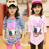 Child children's clothing female child 2013 autumn stripe cotton basic shirt long design long-sleeve T-shirt 11303