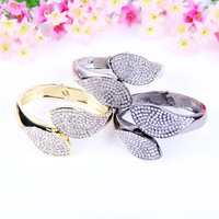 Retail and Wholesale KOREA Jewelery inlaid rhinestone leaf bracelet Gold Silver Gun Black B190