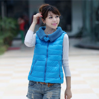 2013 free shipping,autumn and winter vest down cotton short design vest turn-down collar cotton waistcoat women's cotton vest