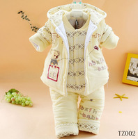 Promitons 2013 new newborn baby girl clothing set the winter clothes for infant boys padded jacket three pcs set warm outerwear