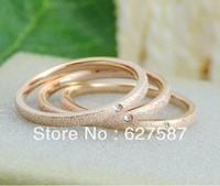 Minimalist Wrap Rhinestone Matte Plated Rose Gold Titanium Steel Ring