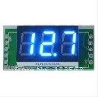 1pcs/lot   DC Mini Digital Voltmeter DC 0-100V blue LED Slim Digital Panel Meter with Ear Car Motorcycle Battery Monitor #00006