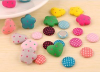 100pcs,24types Plum blossom/peach heart flat cloth button,handmade DIY hair accessory garment material cloth Fabric buttons