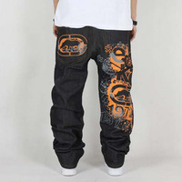 Hip hop pants street style fashion jeans doodle drawing print denim pants for men loose plus size jeans Free shipping