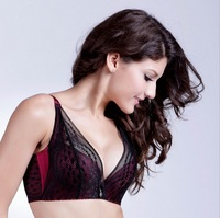 Free Shipping 2014 On Sale Plus Size Bordeaux Red Embroidery Jacquard Diamond Underwear Bras Thin Push Up 3/4 Cup Women Bra B026