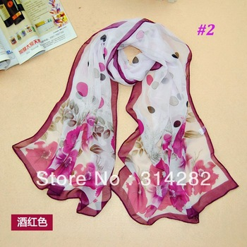 wholesale fashion printe polka dot flower shawls long popular chiffon silk head scarves/scarf 10pcs/lot