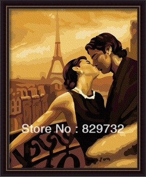 JIUJIU DIY digital oil painting Free shipping picture the picture unique gift canvas 40X50cm Dreaming of Paris paint by number