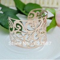 New Arrivals High Quality Rose Gold Plated Titanium Steel Wide Version Hollow Carved Bracelets Bangle Free Shipping