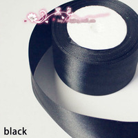 "Free shipping_(25yards/lot)2""(50mm)High quality Satin Ribbon black/DIY ribbon Wholesale/More colors For wedding decoration"