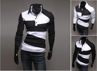 2013 Spring Clothing New Mens Stylish Slim Fit Casual Shirts Long Sleeve T-shirts Tee Coat 2 Colors 4 Size Free Shipping ZF618