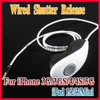 1M Length Wired Remote Control Shutter Release Cable for Apple iPad 1/2/3 iPad Mini iPhone 3G 4G 4GS 5G , White/Black