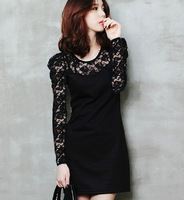 2013 Fashion Women's Lace Skirt O-Neck Puff Sleeve Princess Medium-long One-piece Long sleeve Dress