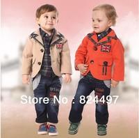 Retail+Free shipping,Boys fashion casual clothing set(coat+ shirt+pants),light blue denim,baby spring autumn clothing