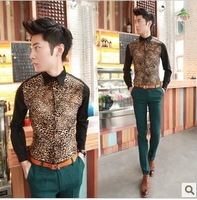 2013 fashion slim leopard print men's clothing male long-sleeve shirt