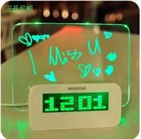 Hershey genuine fluorescent message board alarm clock DIY graffiti alarm creative projection alarm clock mute luminous free ship