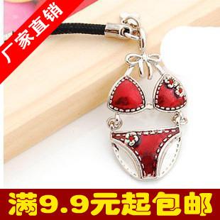 9116 small accessories diamond bikini underwear mobile phone chain mobile phone pendant