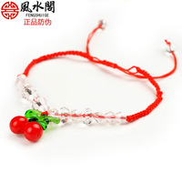 Free Shipping Fashion colored glaze red cherry red string bracelet anklets multi-purpose