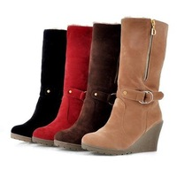 2013 fashion buckle side zipper high-heeled boots vintage wedges martin boots classic winter ankle boots / free shipping