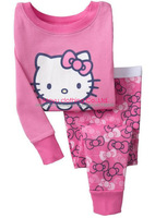 2pcs Hello Kitty Cat Cartoon Print  Baby Girls Kids Children Infant Tshirt Top Pants Long Sleeve Pajamas Sleepwear Set Suit 1-7Y
