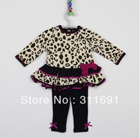 2013 Free shipping children girl's fashion clothing set (skirt+pant) girl's fashion outwear girl's  Leopard design set 6pcs/lot