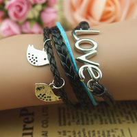 DIY New Retro Unisex Silver Birds Love Charms Wax Rope Leather Wrap Bracelet Gift  Factory Wholesale price Free Shipping