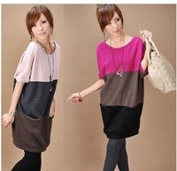 Free shipping summer wear pregnant womens t shirts dress o-neck patchwork design maternity wear dress