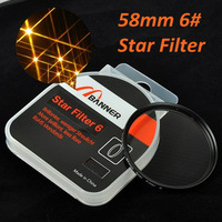 Free shipping High Quality Optical Glass 6 Point 6PT Star Filter for 58mm Lens for Nikon Canon Sony Olympus Camera