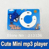 50pcs/ lot 2013 New Mini Clip MP3 Cartoon MP3 player Digital Music Player No accessory bluecolor