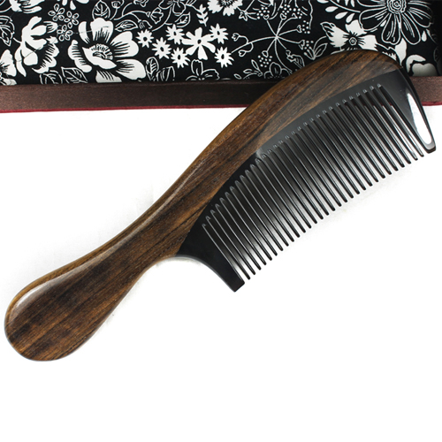 Natural heishui horn massage health comb handle wooden comb(China (Mainland))