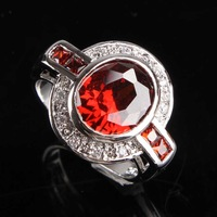 NEW GARNET MORGANITE  SILVER RING SIZE  9 R1-06469