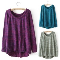 New Sale Personalized Crew Neck Asymmetric Hem Loose Sweater WF-48589