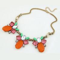 Wholesale new fashion amazing multicolor flower short necklace