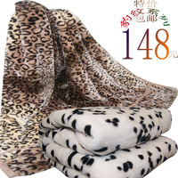 Leopard print double layer double faced thickening black and white super soft raschel blanket singleplayer 1 meters 5 carpet