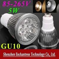 FreeShipping 6PCS/LOT Energy Saving GU10 LED Bulb lamp 85~265V 5W 500-550LM led Spotlight White/Warm white led lamp