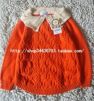 2013 autumn fashion girls clothing child baby sweater cotton sweater gentlewomen turn-down collar