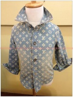2013 autumn shirt skull water wash male child long-sleeve denim shirt