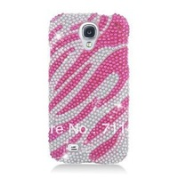 Fast shipping Free fedex/ Factory bling case/ RingBling Brilliant Diamond Case for Samsung Galaxy S4 S IV i9500-Hot Pink Zebra