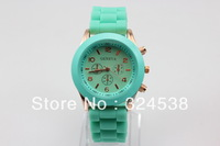 2013MInt Green  New Product luxury Fashion goods Lady brand GENEVA rose gold quartz Silicone Jelly watch for women wedding gift
