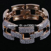 Fashion Women Jewelry Gold Plated Link Chain Rhinestone Statement Bracelets Bangles
